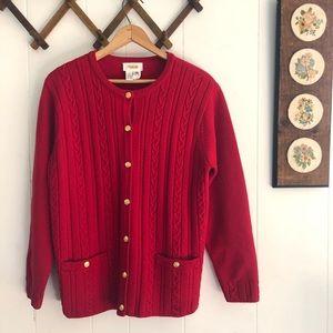 Vintage Red Wool Winter Cardigan